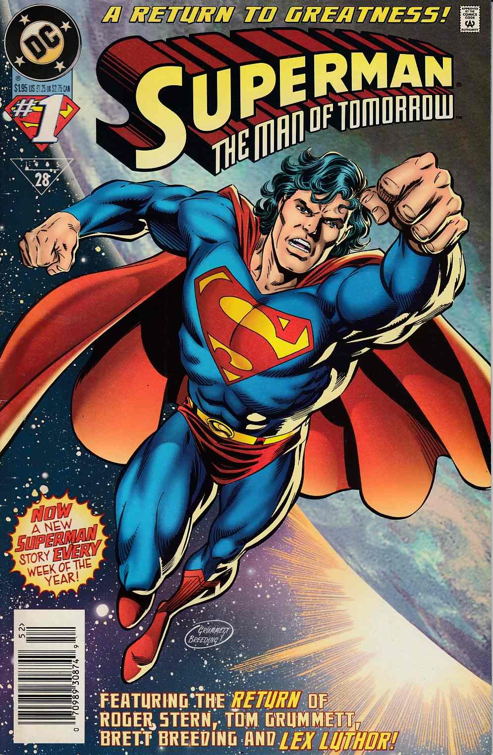 Superman The Man of Tomorrow #1 Newsstand Edition Very Fine Minus (7.5) [DC Comic] LARGE