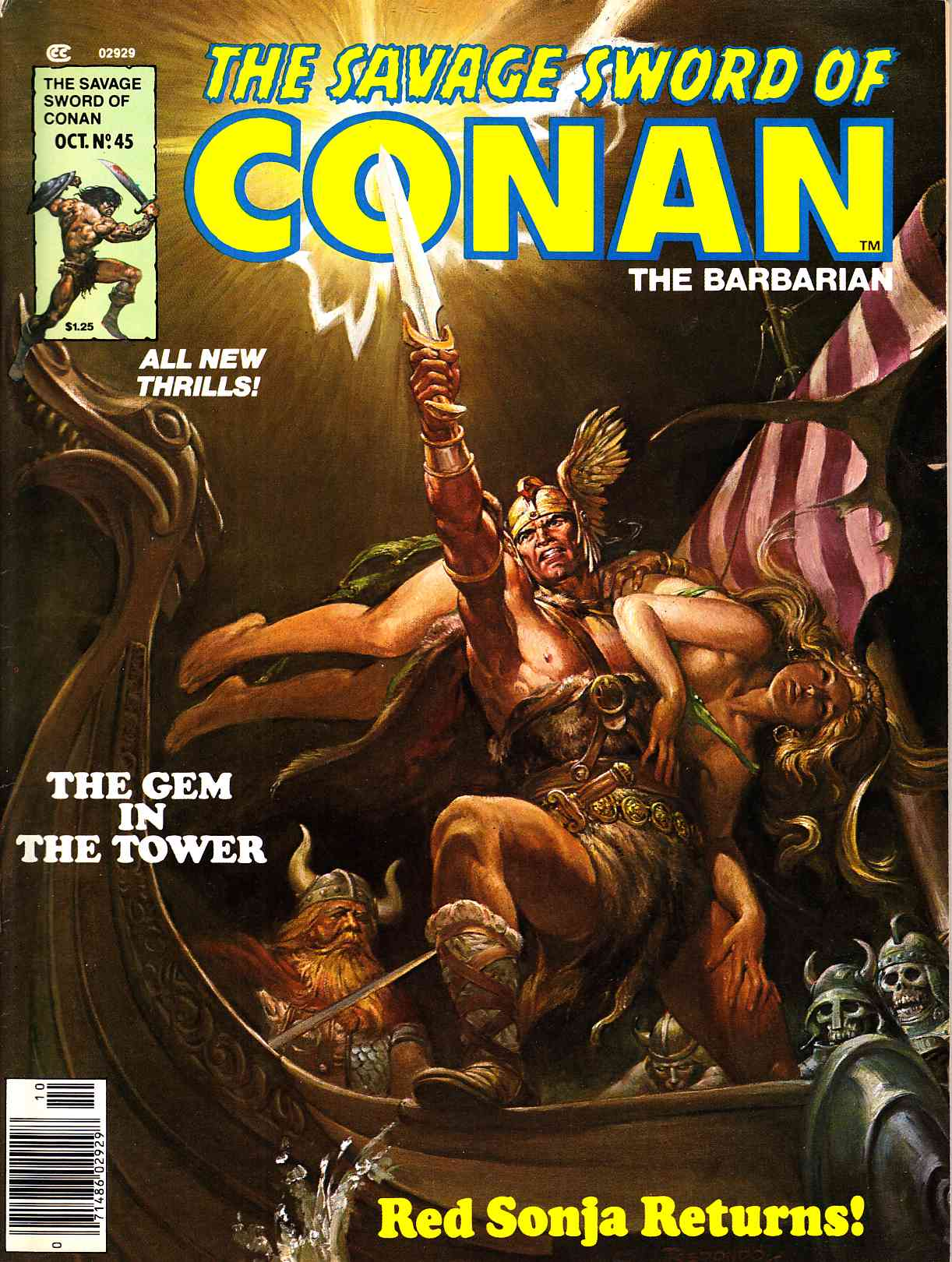 Savage Sword of Conan Magazine #45 Very Fine Minus (7.5) [Marvel Comic] THUMBNAIL