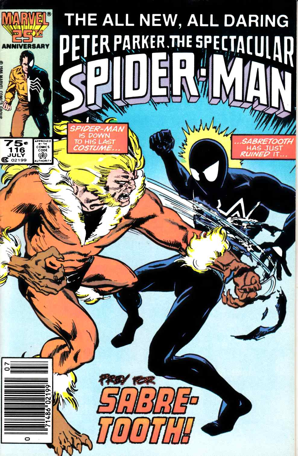 Spectacular Spider-Man #116 Newsstand Edition Fine Plus (6.5) [Marvel Comic] LARGE
