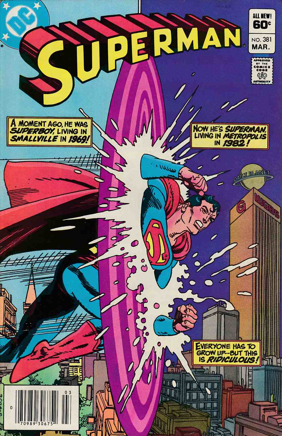 Superman #381 Newsstand Edition Very Fine Minus (7.5) [DC Comic] LARGE