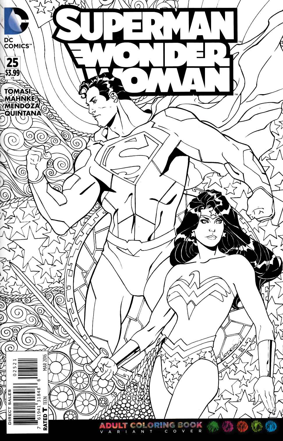 Superman Wonder Woman #25 Adult Coloring Book Variant Edition [DC Comic]