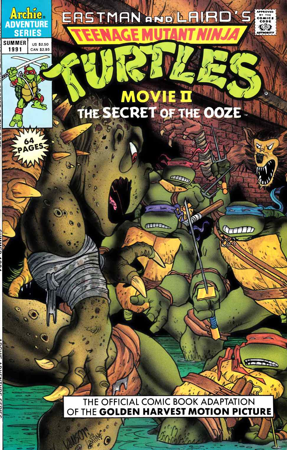 Teenage Mutant Ninja Turtles Movie II #1 Very Fine (8.0) [Archie Comic] THUMBNAIL