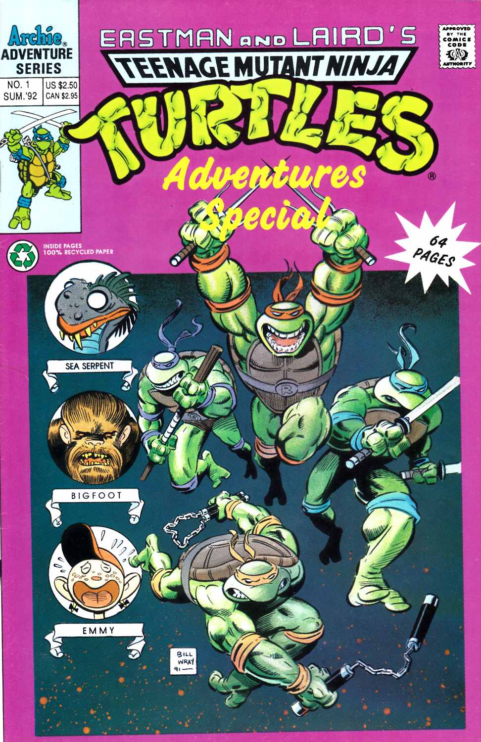 Teenage Mutant Ninja Turtles Adventures Special #1 Fine (6.0) [Archie Comic] THUMBNAIL