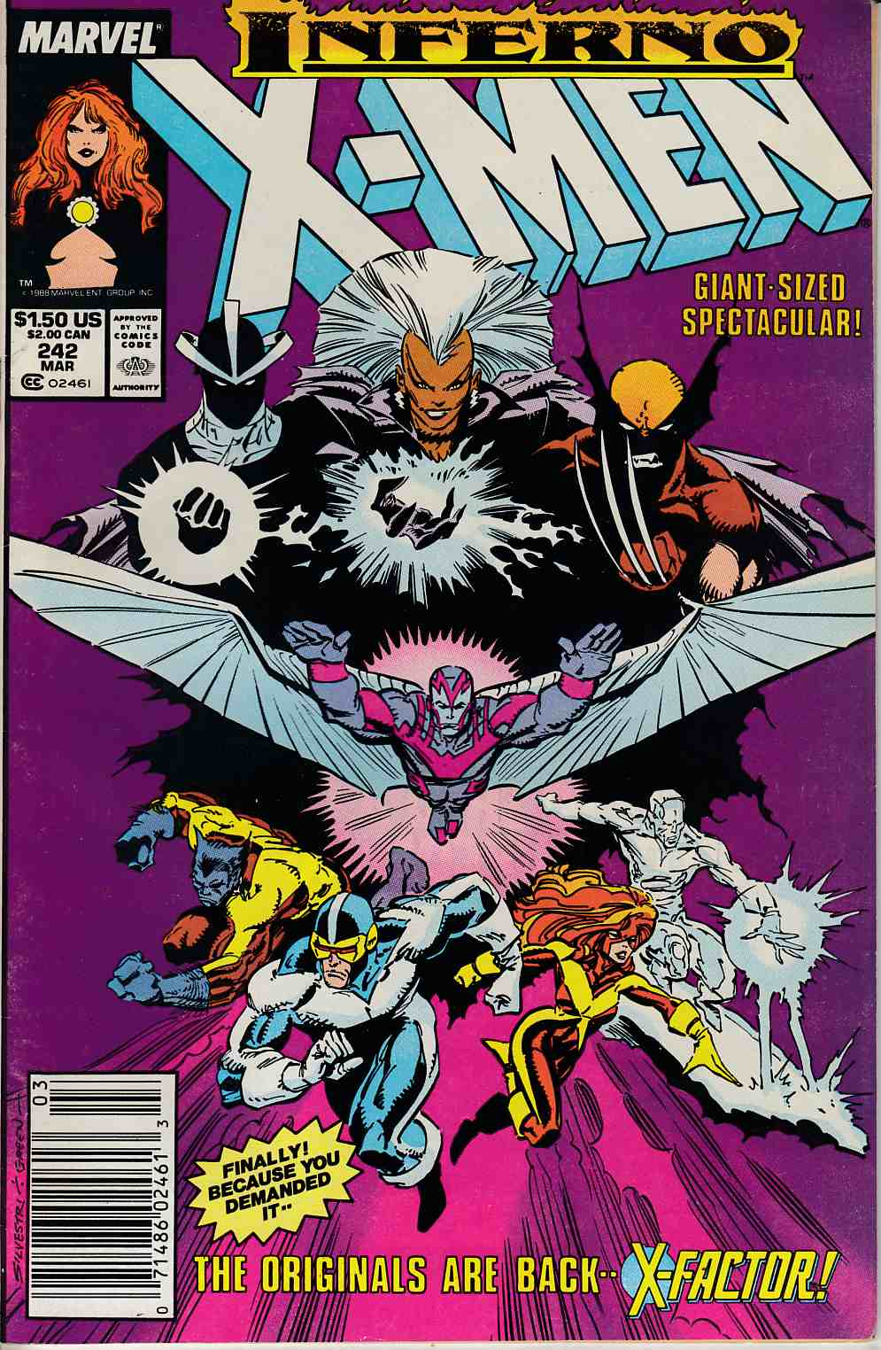 Uncanny X-Men #242 Newsstand Edition Fine Minus (5.5) [Marvel Comic] LARGE