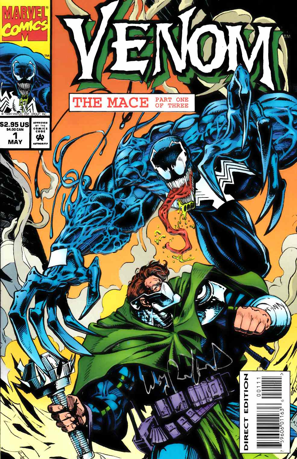 Venom The Mace #1 Near Mint (9.4) Signed By Bill Reinhold [Marvel Comic] LARGE
