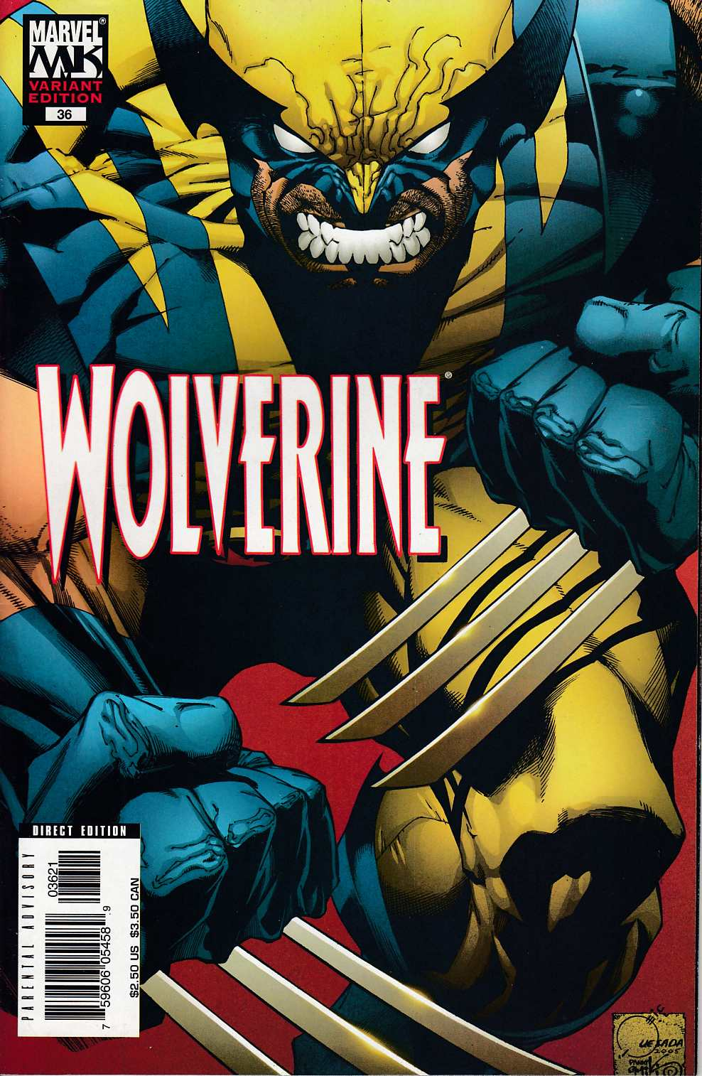 Wolverine #36 Quesada Variant Cover Very Fine (8.0) [Marvel Comic] LARGE
