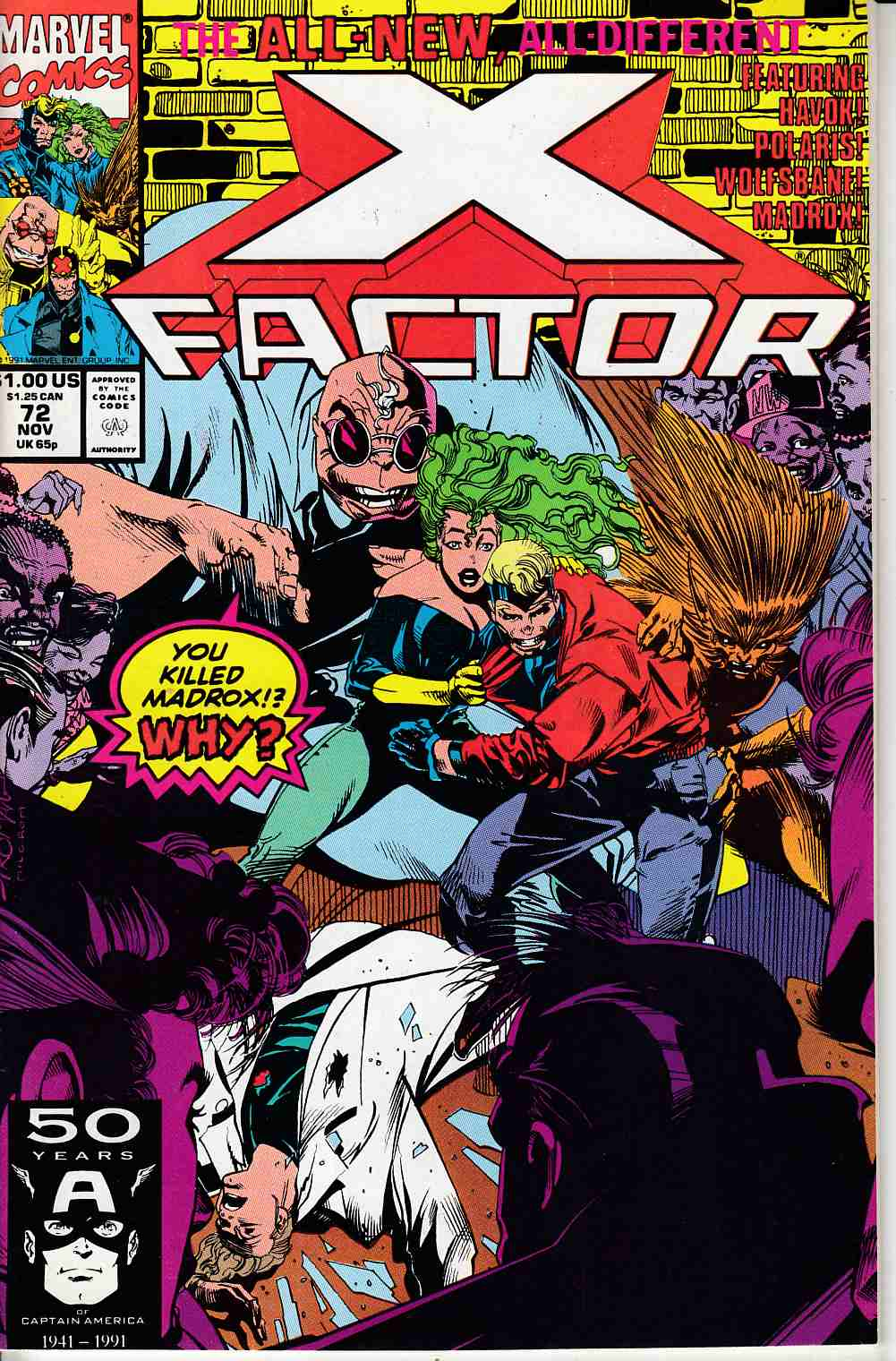 X-Factor #72 Very Fine (8.0) [Marvel Comic] LARGE