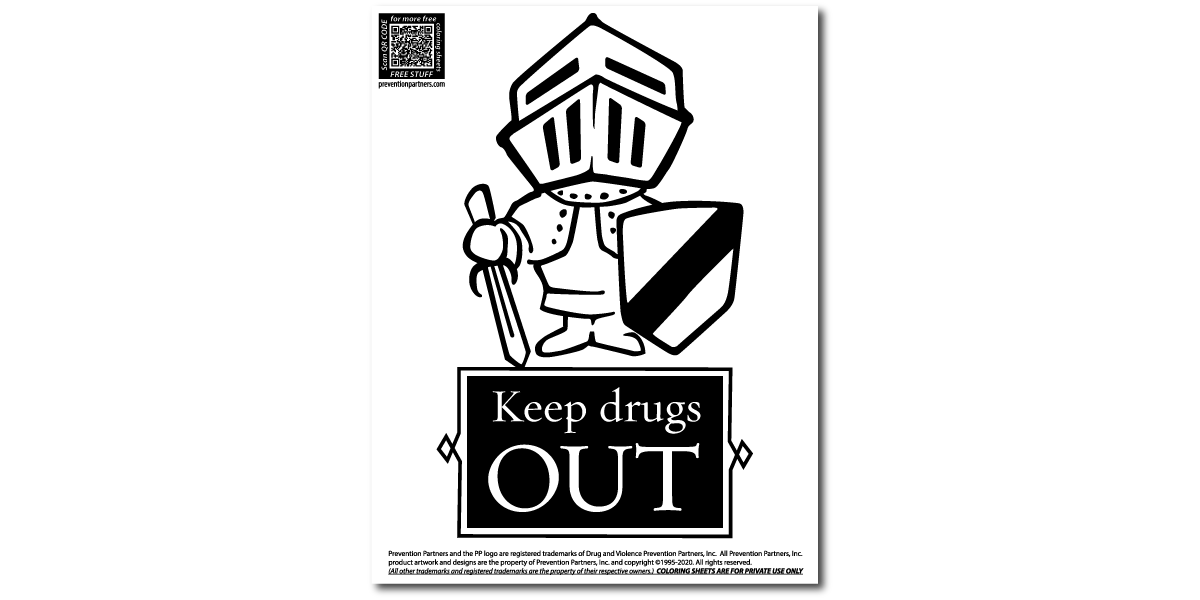 FREE Downloadable Coloring Sheet - Keep Drugs Out THUMBNAIL