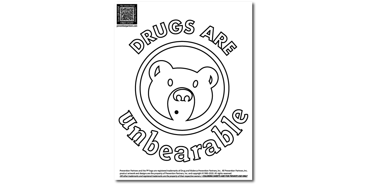 FREE Downloadable Coloring Sheet - Drugs Are Unbearable THUMBNAIL