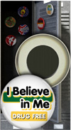 Button Magnet: I Believe in Me Drug Free THUMBNAIL