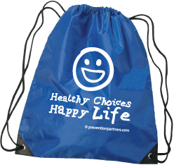 Drawstring Backpack: Healthy Choices Happy Life MAIN