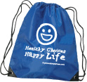 Drawstring Backpack: Healthy Choices Happy Life THUMBNAIL