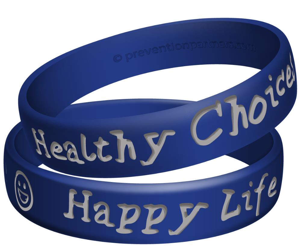 Awareness Wristband: Healthy Choices Happy Life THUMBNAIL