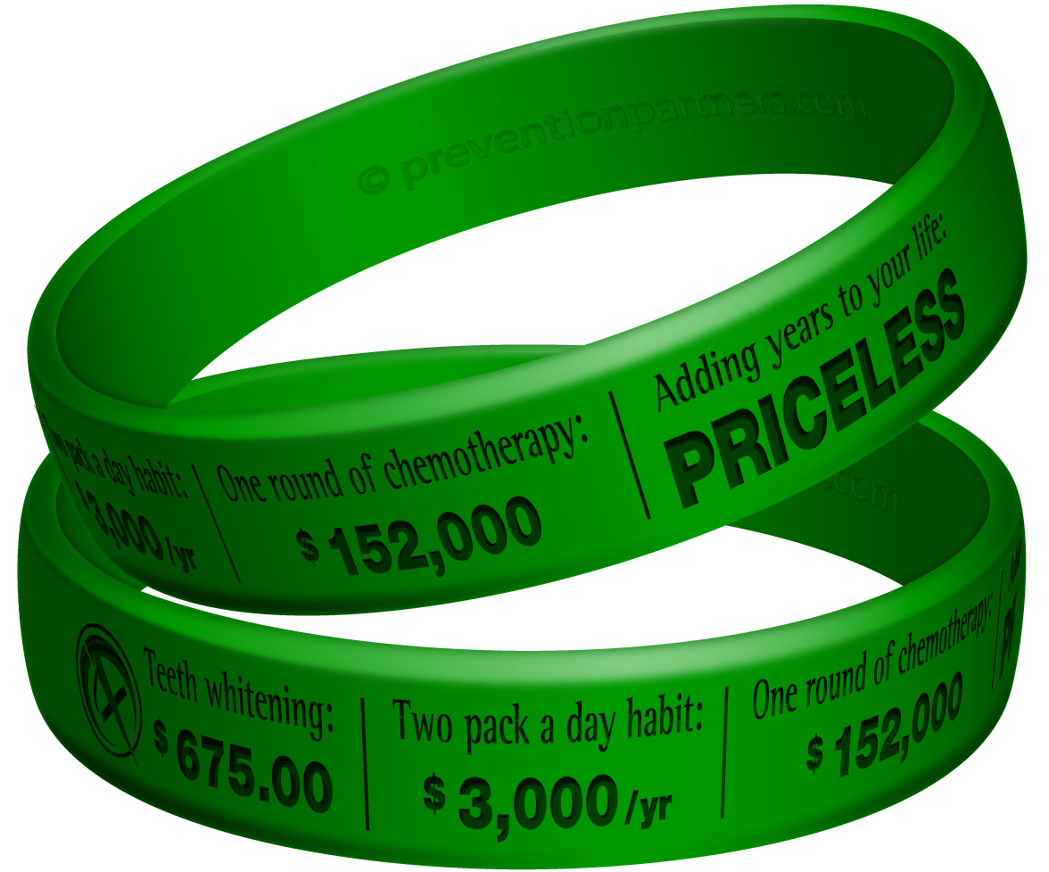 Awareness Wristband: Not Smoking Priceless THUMBNAIL