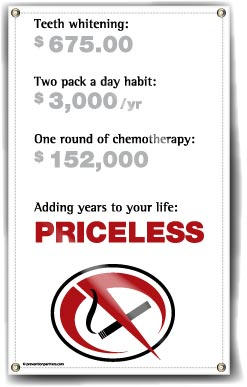 Indoor/Outdoor Vinyl Banner: Not Smoking Priceless MAIN