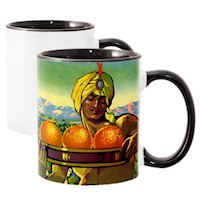 11 oz White Ceramic Sublimation Mug, Black Inner & Handle, Ultra Hard Coating THUMBNAIL