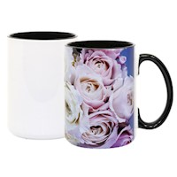 15 oz White Ceramic Sublimation Mug, Black Inner/Handle THUMBNAIL