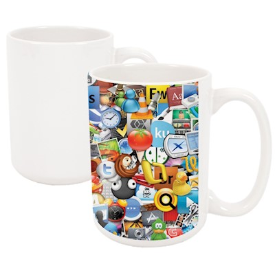 15 oz White Ceramic Mug - Sublimation Blank MAIN