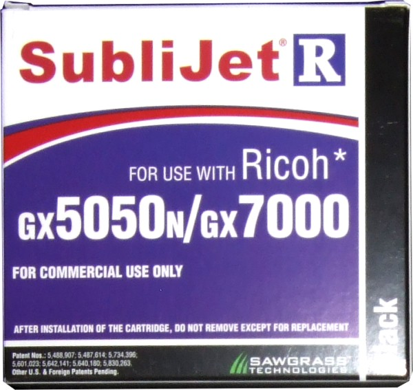 Black Sublijet Sublimation Ink Cartridge Fits Ricoh GX 5050 GX 7000