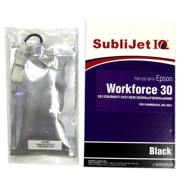 Sublijet Sublimation Ink Black Refill Bag Fits Epson WF1100 ONLY