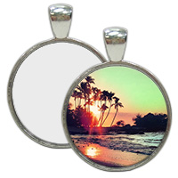 Nickel Plated Round Pendant with Sublimation Metal Insert MAIN