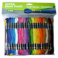 Super Sheen Cotton Craft Thread Super Giant Pack by Iris - 150 Skeins