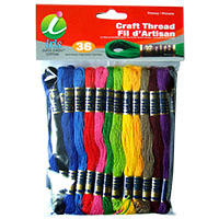Super Sheen Cotton Craft Thread Pack by Iris - 36 Skeins