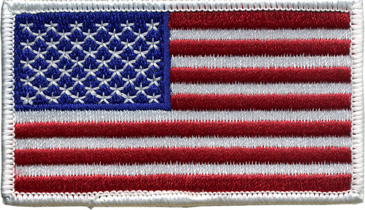 2 Inch by 3.5 Inch Embroidered American Flag Patches - White Border THUMBNAIL