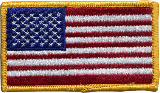 2 Inch by 3.5 Inch Embroidered American Flag Patches - Gold Border THUMBNAIL