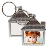 Stainless Steel House Keychain with Sublimation Metal Insert