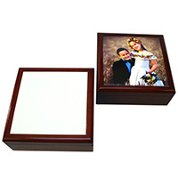 "Mahogany Jewelry Box with 6"" x 6"" Tile - Sublimation Blank"