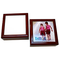 "Mahogany Jewelry Box with 4.25"" x 4.25"" Tile - Sublimation Blank"
