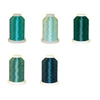 Blue/Green Palette - Polyester Embroidery Thread 5500 Yard Cones