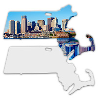 Sublimation Metal Massachusetts State Ornament MAIN
