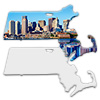 Sublimation Metal Massachusetts State Ornament