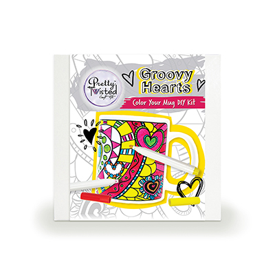 Pretty Twisted Groovy Hearts Color Your Mug DIY Kit MAIN
