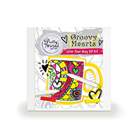 Pretty Twisted Groovy Hearts Color Your Mug DIY Craft Kit THUMBNAIL