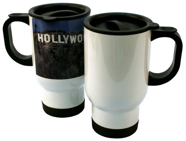 14 oz. White Stainless Steel Travel Mug