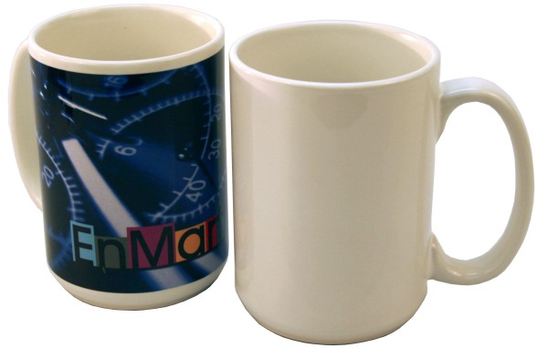 15 oz White Ceramic Mug - Sublimation Blank THUMBNAIL