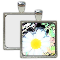 Nickel Plated Square Pendant with Sublimation Metal Insert MAIN