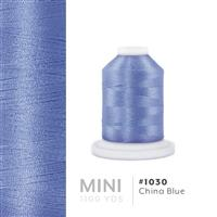 China Blue # 1030 Iris Polyester Embroidery Thread - 1100 Yds THUMBNAIL