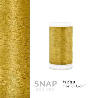 Corral Gold # 1200 Iris Polyester Embroidery Thread - 600 Yd Snap Spool MAIN