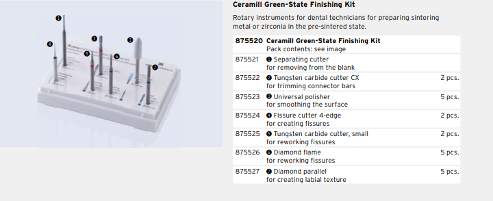 Ceramill Green-State Finishing Kit THUMBNAIL