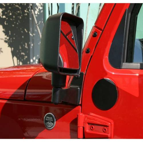 Fat Bob's Garage, Rugged Ridge, Part #11025.04, Jeep JK Wrangler Mirror Relocation Brackets, Black, 2007-2016 MAIN