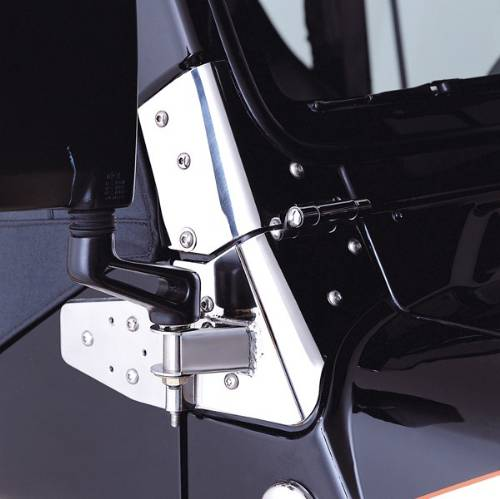 Fat Bob's Garage, Rugged Ridge, Part #11026.02, Jeep Wrangler Mirror Relocation Brackets, Stainless Steel 1997-2006 MAIN