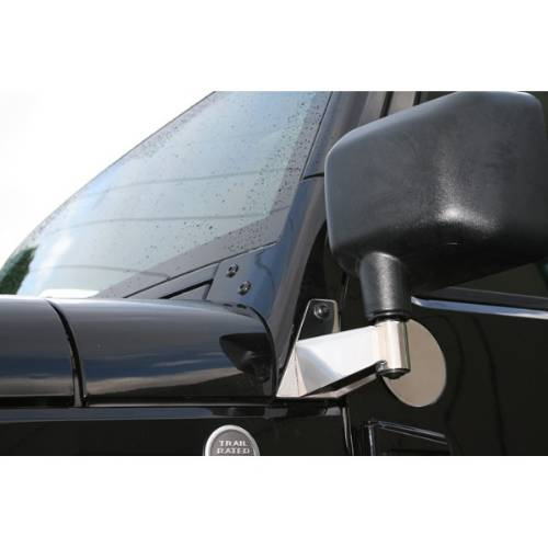 Fat Bob's Garage, Rugged Ridge, Part #11026.04, Jeep JK Wrangler Mirror Relocation Brackets, Stainless Steel 2007-2016_MAIN