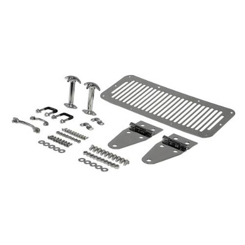 Fat Bob's Garage, Rugged Ridge, Part #11101.01, Jeep CJ/Wrangler Hood Kit Stainless Steel 1976-1995 MAIN