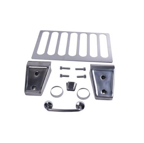 Fat Bob's Garage, Rugged Ridge, Part #11101.04, Jeep JK Wrangler Hood Dress Up Kit, Stainless Steel 2007-2012 MAIN