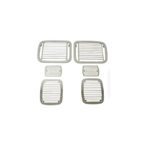 Fat Bob's Garage, Rugged Ridge, Part #11102.04, Jeep YJ Wrangler Stone Guard Set, Billet Style 1987-1995 MAIN