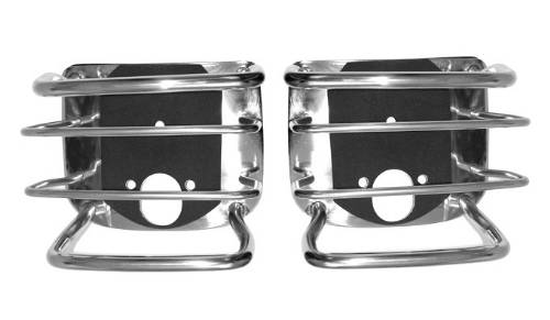 Fat Bob's Garage, Rugged Ridge, Part #11103.02, Jeep CJ/Wrangler Tail Light Guards, Stainless Steel 1976-2006 MAIN